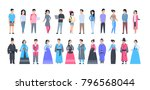 set of asian people wearing... | Shutterstock .eps vector #796568044