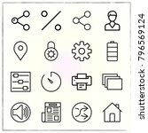 web interface line icons set... | Shutterstock .eps vector #796569124