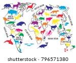 cartoon world map with animals... | Shutterstock .eps vector #796571380