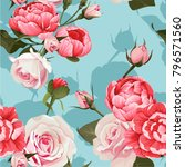 peony and roses vector seamless ... | Shutterstock .eps vector #796571560