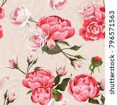 peony and roses vector seamless ... | Shutterstock .eps vector #796571563
