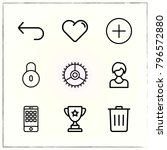 web interface line icons set... | Shutterstock .eps vector #796572880