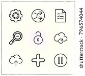 web interface line icons set... | Shutterstock .eps vector #796574044
