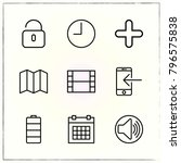 web interface line icons set... | Shutterstock .eps vector #796575838