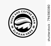 coffee and wave logo emblem  | Shutterstock .eps vector #796580380