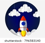 paper art carving the rocket... | Shutterstock .eps vector #796583140