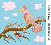 pink parrot on a tree | Shutterstock .eps vector #796587643