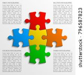 four sided 3d puzzle... | Shutterstock .eps vector #796587823