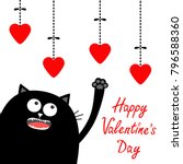 valentines day. black cat... | Shutterstock .eps vector #796588360