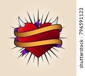 heart tattoo in old school... | Shutterstock .eps vector #796591123