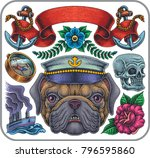 hand drawn tattoo set of marine ... | Shutterstock .eps vector #796595860