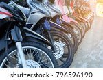 many motorcycle at the showroom ... | Shutterstock . vector #796596190