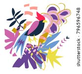 abstract bird and floral... | Shutterstock .eps vector #796596748