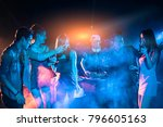 night club dj party people... | Shutterstock . vector #796605163