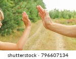 stylish hands of a parent and... | Shutterstock . vector #796607134