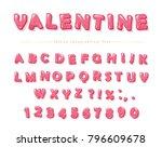 glossy pink font. festive abc... | Shutterstock .eps vector #796609678