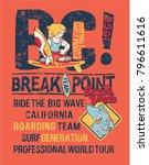 break point  kids surfing shark ... | Shutterstock .eps vector #796611616