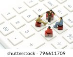 miniature 4 people sitting on...   Shutterstock . vector #796611709
