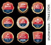 set of navy blue and red badges | Shutterstock .eps vector #796611934