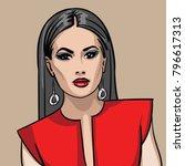 girl in red dress. illustration. | Shutterstock .eps vector #796617313