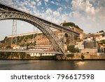 view of oporto of bridge with... | Shutterstock . vector #796617598