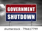 government shutdown road sign | Shutterstock . vector #796617799