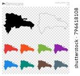 dominicana high detailed map.... | Shutterstock .eps vector #796618108