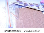 working on process house plan... | Shutterstock . vector #796618210