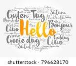 hello word cloud in different... | Shutterstock . vector #796628170
