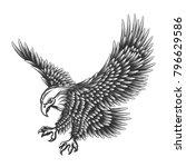 flying eagle emblem drawn in... | Shutterstock . vector #796629586