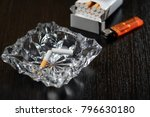 broken cigarette in ashtray in... | Shutterstock . vector #796630180