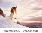skier jumps against sunset sky... | Shutterstock . vector #796631500