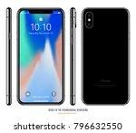 smartphone in iphone style... | Shutterstock .eps vector #796632550