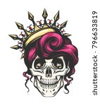 female skull with a crown and... | Shutterstock . vector #796633819