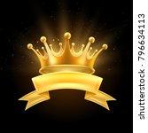 gold crown ribbon shiny winner  ... | Shutterstock .eps vector #796634113