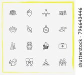 camping line icon set stump ...   Shutterstock .eps vector #796643446