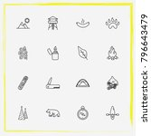 camping line icon set paw ... | Shutterstock .eps vector #796643479
