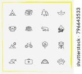 camping line icon set fir tree  ... | Shutterstock .eps vector #796643533
