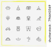 camping line icon set sausage ... | Shutterstock .eps vector #796643569