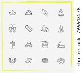camping line icon set christmas ... | Shutterstock .eps vector #796643578