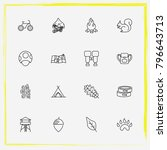 camping line icon set nut ... | Shutterstock .eps vector #796643713