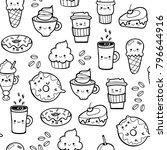 various kawaii food. hand drawn ... | Shutterstock .eps vector #796644916