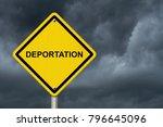 deportation warning sign ... | Shutterstock . vector #796645096