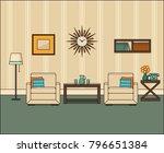 room interior in flat design.... | Shutterstock .eps vector #796651384