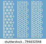 vector set of line borders with ... | Shutterstock .eps vector #796652548