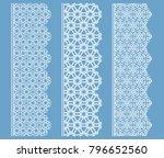 vector set of line borders with ... | Shutterstock .eps vector #796652560