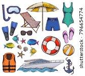 set of beach summer holidays... | Shutterstock .eps vector #796654774