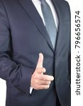 Small photo of Businessman touching concepts in studio. Business Man pushing on a touch screen interface