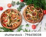 two vegetable cheese cakes with ... | Shutterstock . vector #796658038