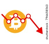 bitcoin down trend vector icon. ... | Shutterstock .eps vector #796658563